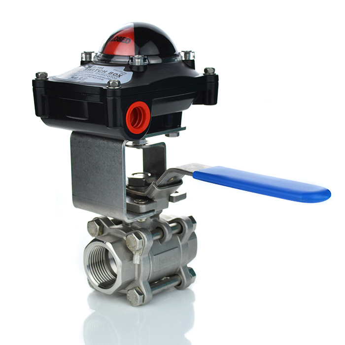 3 Piece Stainless Steel Manual Ball Valve with Limit Switchbox